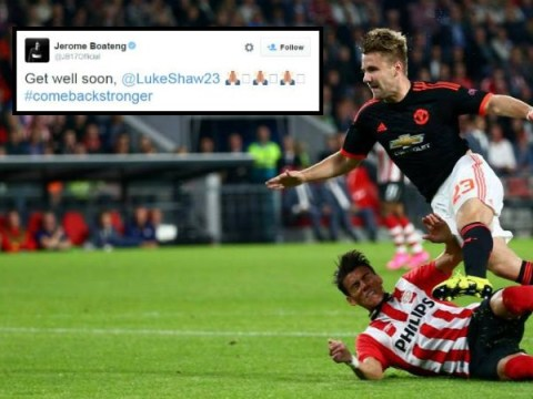 Fans and players wish Manchester United's Luke Shaw a speedy recovery after injury v PSV