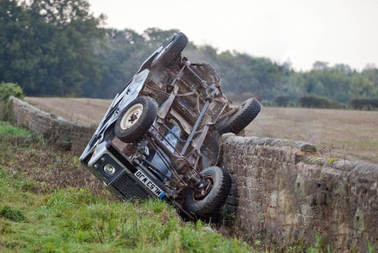 FROM ITV STRICT EMBARGO - No Use Before Tuesday 3 November 2015 Emmerdale - Ep 7343 Thursday 12th November 2015 - 1st Ep Andy Sugden [KELVIN FLETCHER] and Robert Sugden [RYAN HAWLEY] both rev their cars seem determined to drive at each other straight to the death. At the last minute, Robert swerves but Andy doesn't deviate from his trajectory. Both cars plough off the road crashing hard. Robert smashes into a field with a haystack whilst Andy's Land Rover flips after hitting a wall. Both impacts are severe. Will they survive? Picture contact: david.crook@itv.com on 0161 952 6214 Photographer - Amy Brammall This photograph is (C) ITV Plc and can only be reproduced for editorial purposes directly in connection with the programme or event mentioned above, or ITV plc. Once made available by ITV plc Picture Desk, this photograph can be reproduced once only up until the transmission [TX] date and no reproduction fee will be charged. Any subsequent usage may incur a fee. This photograph must not be manipulated [excluding basic cropping] in a manner which alters the visual appearance of the person photographed deemed detrimental or inappropriate by ITV plc Picture Desk. This photograph must not be syndicated to any other company, publication or website, or permanently archived, without the express written permission of ITV Plc Picture Desk. Full Terms and conditions are available on the website www.itvpictures.com