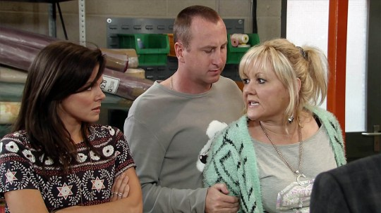 FROM ITV STRICT EMBARGO - No Use Before Tuesday 6 October 2015 Coronation Street - Ep 8752 Friday 16th October 2015 - 2nd Ep Kate Connor [FAYE BROOKS] continues to wind Beth Sutherland [LISA GEORGE] up and when she squeezes Kirk Sutherland's [ANDY WHYMENT] biceps, it's the final straw for Beth who flies at Kate. Carla wades in and separates the brawling women. Carla Connor [ALISON KING] and Johnny Connor [RICHARD HAWLEY] berate Kate for causing trouble and insist she apologises to Beth. Picture contact: david.crook@itv.com on 0161 952 6214 This photograph is (C) ITV Plc and can only be reproduced for editorial purposes directly in connection with the programme or event mentioned above, or ITV plc. Once made available by ITV plc Picture Desk, this photograph can be reproduced once only up until the transmission [TX] date and no reproduction fee will be charged. Any subsequent usage may incur a fee. This photograph must not be manipulated [excluding basic cropping] in a manner which alters the visual appearance of the person photographed deemed detrimental or inappropriate by ITV plc Picture Desk. This photograph must not be syndicated to any other company, publication or website, or permanently archived, without the express written permission of ITV Plc Picture Desk. Full Terms and conditions are available on the website www.itvpictures.com