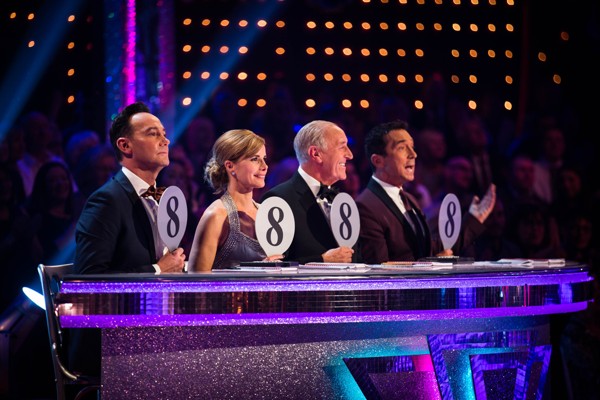 Programme Name: Strictly Come Dancing 2015 - TX: 17/10/2015 - Episode: n/a (No. n/a) - Picture Shows: ++LIVE SHOW++ Darcey Bussell, Len Goodman, Bruno Tonioli, Craig Revel Horwood - (C) BBC - Photographer: Guy Levy