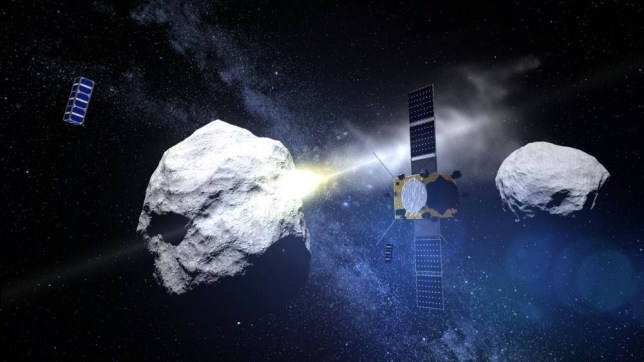 Undated handout image issued by the ESA/Science Office of the AIM spacecraft watching the DART spacecraft impacting the Didymoon asteroid. PRESS ASSOCIATION Photo. Issue date: Wednesday September 30, 2015. An ambitious joint US-European mission, called AIDA, is being planned to divert the orbit of a binary asteroidís small moon, as well as to give us new insights into the structure of asteroids. A pair of spacecraft, the ESA-led Asteroid Impact Mission (AIM) and NASA-led Double Asteroid Redirection Test (DART), will rendezvous with the Didymos asteroid and its small natural satellite, known informally as ëDidymooní. Following a period of study of both asteroids and detailed mapping of Didymoon by AIM, DART will impact with Didymoon and AIM will assess the missionís effectiveness in diverting the moonís orbit around Didymos. See PA story SCIENCE Asteroid. Photo credit should read: ESA/Science Office/PA Wire NOTE TO EDITORS: This handout photo may only be used in for editorial reporting purposes for the contemporaneous illustration of events, things or the people in the image or facts mentioned in the caption. Reuse of the picture may require further permission from the copyright holder.