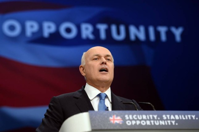 Work and Pensions Secretary Iain Duncan Smith addresses the Conservative Party conference at Manchester Central. PRESS ASSOCIATION Photo. Picture date: Tuesday October 6, 2015. See PA story TORY Main. Photo credit should read: Stefan Rousseau/PA Wire