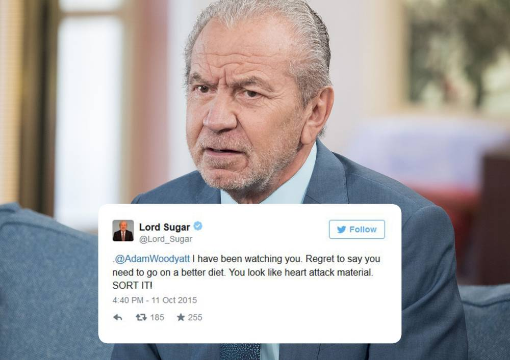Lord Alan Sugar says his weight jibe to Adam Woodyatt was 'a joke with a friend'