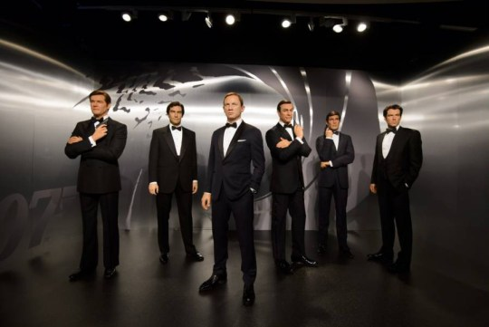Mandatory Credit: Photo by Jonathan Hordle/REX Shutterstock (5254361a) James Bond wax figures - Roger Moore, Timothy Dalton, Daniel Craig, Sean Connery, George Lazenby and Pierce Brosnan James Bond wax figures uveiled at Madame Tussauds, London, Britain - 15 Oct 2015 Madame Tussauds London today revealed wax figures of ALL SIX James Bonds, with five completely new wax 007s joining the existing figure of Daniel Craig. To coincide with the release of SPECTRE, the line up of Sean Connery, George Lazenby, Roger Moore, Timothy Dalton, Pierce Brosnan and Daniel Craig will appear at the Legendary London attraction for SIX WEEKS ONLY, before embarking on a tour of Madame Tussauds locations worldwide on December 1.