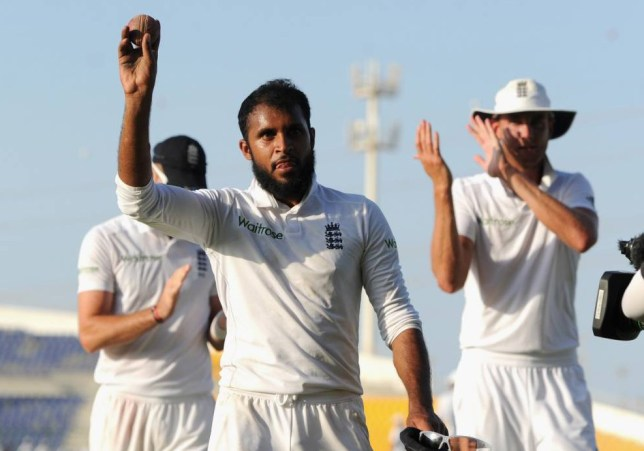 ABU DHABI, UNITED ARAB EMIRATES - OCTOBER 17:  Adil Rashid of England salutes the crowd as he leaves the field after claiming 5 wicket haul during day five of the 1st Test between Pakistan and England at Zayed Cricket Stadium on October 17, 2015 in Abu Dhabi, United Arab Emirates.  (Photo by Gareth Copley/Getty Images)