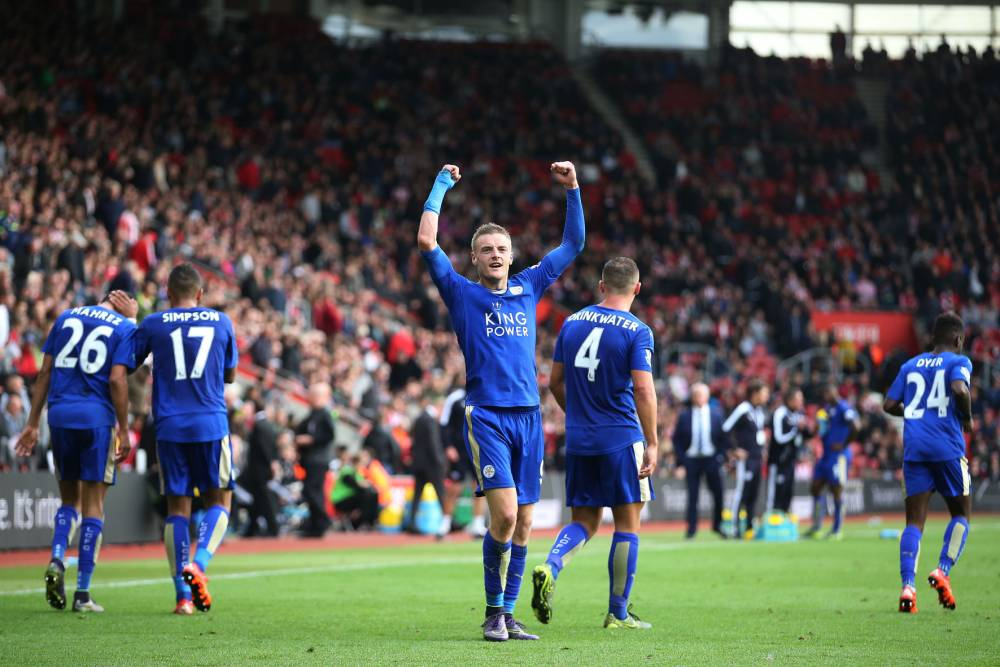 Leicester City Striker Jamie Vardy celebrates after scoring making it 2-2 in the second half during the Barclays Premier League match between Southampton and Leicester City at St. Mary's Stadium on Saturday 17th October 2015nn