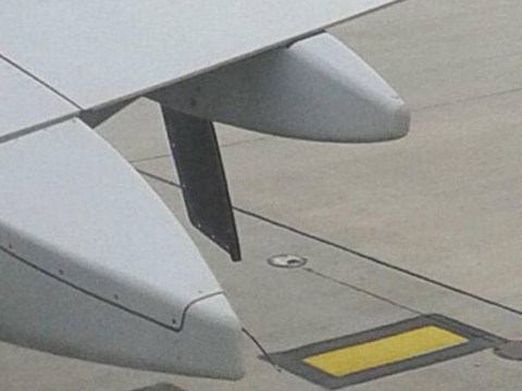 Keep calm, but part of the wing came loose after this plane left Manchester airport this morning