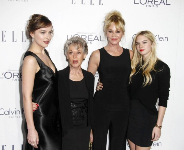 19.OCT.2015 - NEW YORK - USA DAKOTA JOHNSON - MELANIE GRIFFITH - STELLA BANDERAS - TIPPI HEDREN STARS ATTEND THE 22ND ANNUAL ELLE WOMEN IN HOLLYWOOD EVENT HELD AT THE FOUR SEASONS HOTEL IN BEVERLY HILLS, CALIFORNIA! BYLINE MUST READ : XPOSUREPHOTOS.COM *AVAILABLE FOR UK SALE ONLY* BYLINE MUST READ : XPOSUREPHOTOS.COM ***UK CLIENTS - PICTURES CONTAINING CHILDREN PLEASE PIXELATE FACE PRIOR TO PUBLICATION *** **UK CLIENTS MUST CALL PRIOR TO TV OR ONLINE USAGE PLEASE TELEPHONE 44 208 344 2007 ***