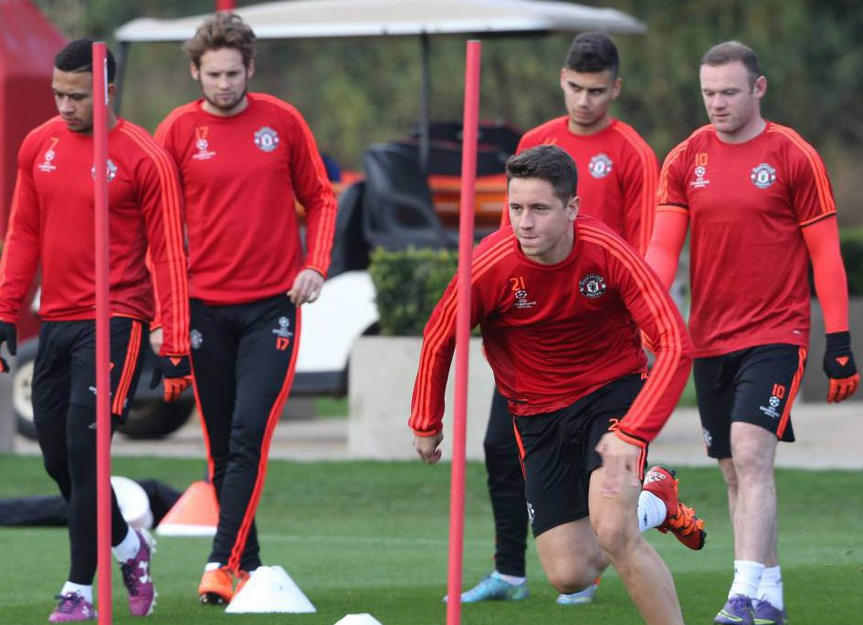 MANCHESTER, ENGLAND - OCTOBER 20: Ander Herrera of Manchester United in action during a first team training session, ahead of their UEFA Champions League Group B match against CSKA Moscow, at Aon Training Complex on October 20, 2015 in Manchester, England. (Photo by Matthew Peters/Man Utd via Getty Images)