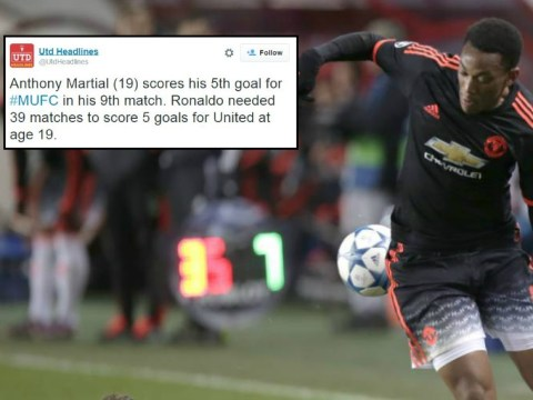 Stats show Manchester United's Anthony Martial is performing better than Cristiano Ronaldo did at 19