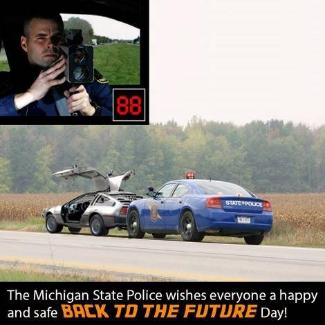 The Michigan state police totally won Back To The Future Day with this Facebook posting
