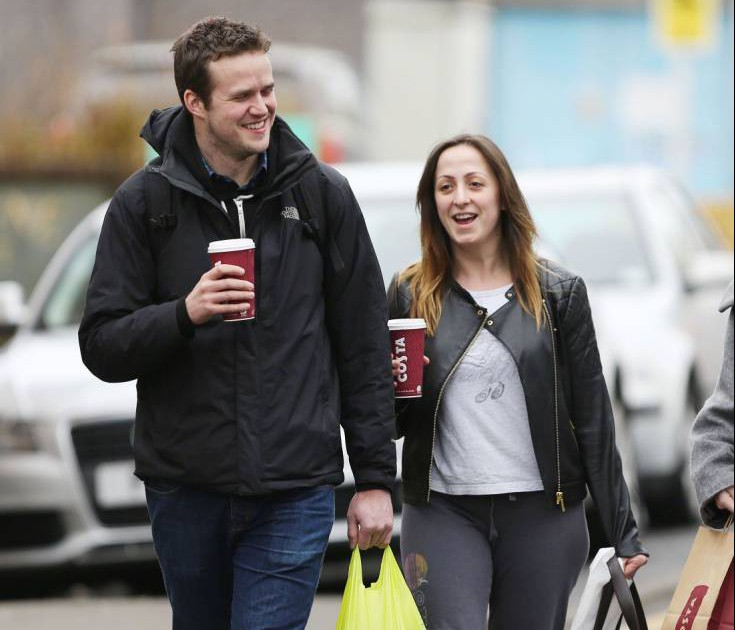 20.FEBRUARY.2015 - ELSTREE - UK EASTENDERS ACTRESS NATALIE CASSIDY WHO WAS INVOLVED IN THE LIVE SHOWS AND THE 30TH ANNIVERSARY OF EASTENDERS THIS WEEK IS SEEN ARRIVING AT THE BBC ELSTREE WITH HER CAMERAMAN BOYFRIEND MARC HUMPHRYS HAVING GRABBED A COFFEE TOGETHER. BYLINE MUST READ : XPOSUREPHOTOS.COM ***UK CLIENTS - PICTURES CONTAINING CHILDREN PLEASE PIXELATE FACE PRIOR TO PUBLICATION *** PLEASE CREDIT USAGE AS PER BYLINE **UK CLIENTS MUST CALL PRIOR TO TV OR ONLINE USAGE PLEASE TELEPHONE +44 208 344 2007