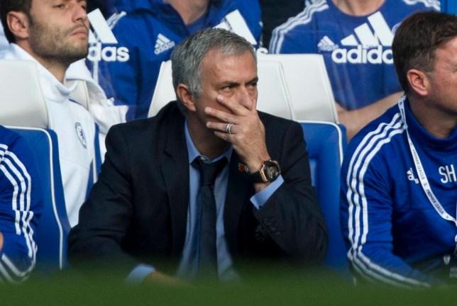 Chelsea's head coach Jose Mourinho watches during the English Premier League soccer match between Chelsea and Liverpool at Stamford Bridge stadium in London, Saturday, Oct. 31, 2015. (AP Photo/Matt Dunham)