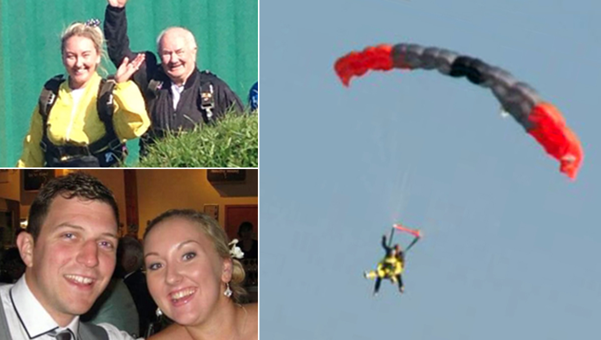 Woman skydives on the day she was due to marry man killed in car crash
