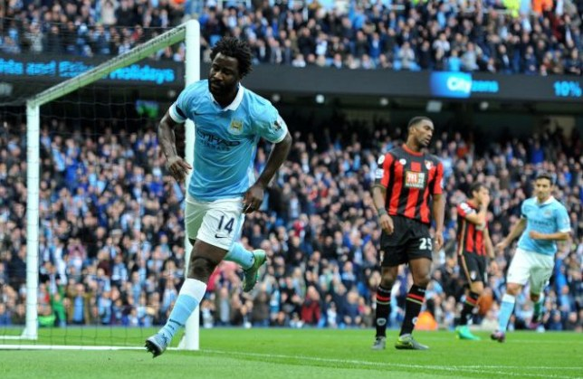Manchester City FC via Press Association Images MINIMUM FEE 40GBP PER IMAGE - CONTACT PRESS ASSOCIATION IMAGES FOR FURTHER INFORMATION. Manchester City's Wilfried Bony celebrates scoring his sides second goal during the Barclay's Premiership match at the Etihad Stadium, Manchester on 17th October, 2015.
