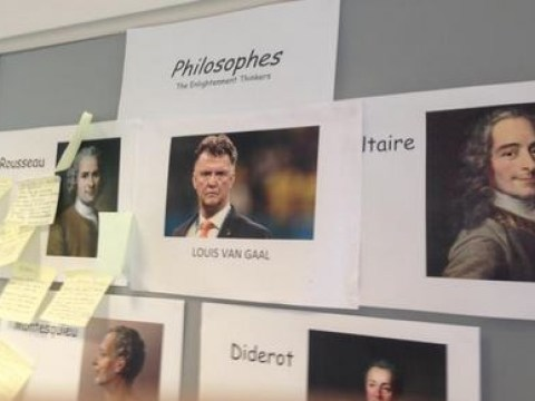 Manchester United fan hijacks his college's philosphers section to add in Louis van Gaal