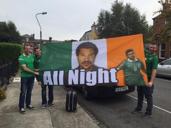 Irish fans create genius Lionel Richie/Shane Long flag before Poland v Ireland Euro 2016 qualifier