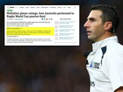 Australian newspaper awards referee Craig Joubert man of the match for his performance v Scotland