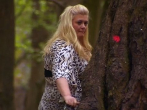 Watch Gemma Collins get the fright of her life as she frets she's about to be eaten by a grisly bear