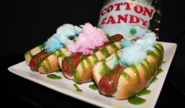 The 'Sweet Spot Cotton Candy Dog' comes complete with green candy-infused mustard (Picture: Twitter)