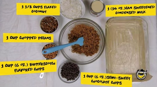 ingredients for seven layer ice cream sandwich bar