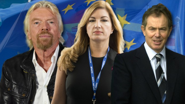 Karren Brady, Richard Branson and Tony Blair are supporting staying in the EU (Picture: REX)
