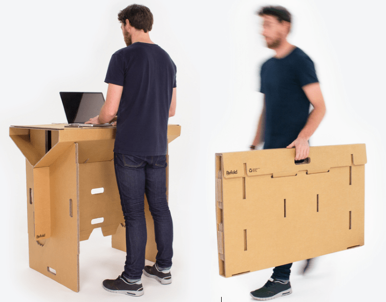 Refolds Portable Cardboard Standing Desk Will Let You Work Anywhere
