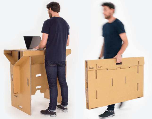 foldable standing desk made out of cardboard