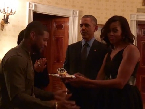 The President and the First Lady sing Happy Birthday to a very lucky Usher