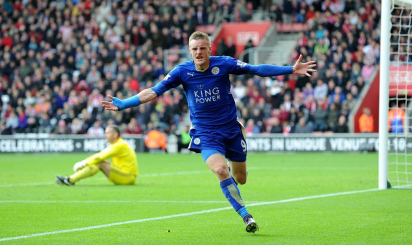 Editorial use only. No merchandising. For Football images FA and Premier League restrictions apply inc. no internet/mobile usage without FAPL license - for details contact Football Dataco Mandatory Credit: Photo by Mercury Press/REX Shutterstock (5262745cb) Leicester'??s Jamie Vardy celebrates scoring his second and the 90th minute equaliser against Southampton in the 2-2 draw at St Mary'