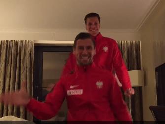 Poland beat Ireland to qualify for Euro 2016, Arsenal goalkeeper Wojciech Szczesny and Grzegorz Krychowiak celebrate by riding invisible horses