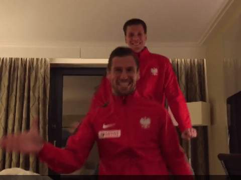 Poland beat Ireland to qualify for Euro 2016, Arsenal goalkeeper Wojciech Szczesny and Grzegorz Krychowiak celebrate by riding invisible horses