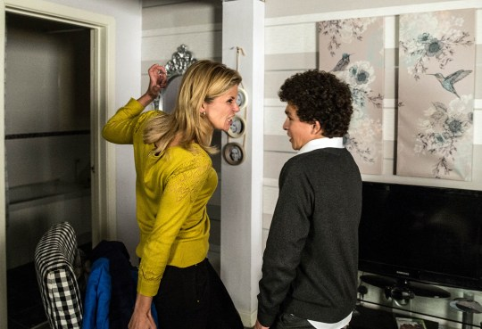 FROM ITV STRICT EMBARGO - No Use Before Tuesday 10 November 2015 Coronation Street - Ep 8775 Wednesday 18 November 2015 As a crowd gathers outside the bistro, Leanne Tilsley [JANE DANSON] sickened to realise the word 'whore' has been spray-painted on the wall. Guessing it's Simon Barlow's [ALEX BAIN] handiwork, Leanne searches his school bag and finds a can of spray paint. Simon's defiant when Leanne confronts him, goading Leanne about her infertility and calling her an awful mum. Leanne screams at Simon to shut up, on the verge of striking him. Will Leanne lash out? Picture contact: david.crook@itv.com on 0161 952 6214 Photographer - Joseph Scanlon This photograph is (C) ITV Plc and can only be reproduced for editorial purposes directly in connection with the programme or event mentioned above, or ITV plc. Once made available by ITV plc Picture Desk, this photograph can be reproduced once only up until the transmission [TX] date and no reproduction fee will be charged. Any subsequent usage may incur a fee. This photograph must not be manipulated [excluding basic cropping] in a manner which alters the visual appearance of the person photographed deemed detrimental or inappropriate by ITV plc Picture Desk. This photograph must not be syndicated to any other company, publication or website, or permanently archived, without the express written permission of ITV Plc Picture Desk. Full Terms and conditions are available on the website www.itvpictures.com
