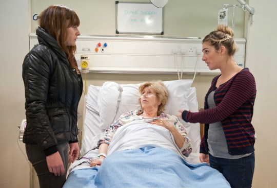 FROM ITV STRICT EMBARGO - No Use Before Tuesday 24 November 2015 Emmerdale - Ep 7358 Monday 30 November 2015 Chas Dingle [LUCY PARGETTER] goes to see Diane Sugden [ELIZABETH ESTENSEN] at the hospital, but her appearance upset's Diane and Victoria Barton [ISABEL HODGINS] kicks her out.  Picture contact: david.crook@itv.com on 0161 952 6214 Photographer - Amy Brammall This photograph is (C) ITV Plc and can only be reproduced for editorial purposes directly in connection with the programme or event mentioned above, or ITV plc. Once made available by ITV plc Picture Desk, this photograph can be reproduced once only up until the transmission [TX] date and no reproduction fee will be charged. Any subsequent usage may incur a fee. This photograph must not be manipulated [excluding basic cropping] in a manner which alters the visual appearance of the person photographed deemed detrimental or inappropriate by ITV plc Picture Desk. This photograph must not be syndicated to any other company, publication or website, or permanently archived, without the express written permission of ITV Plc Picture Desk. Full Terms and conditions are available on the website www.itvpictures.com