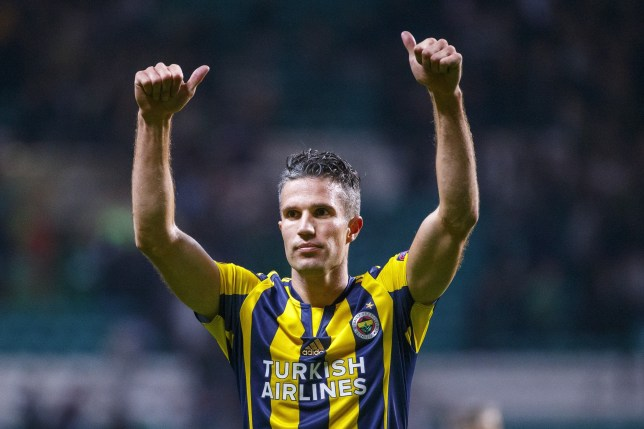 GLASGOW, SCOTLAND - OCTOBER 01: Fenerbahces Robin van Persie reacts after the UEFA Europa League Group A match between Celtic FC and Fenerbahce at Celtic Park in Glasgow, Scotland on October 1, 2015. (Photo by Tolga Akmen/Anadolu Agency/Getty Images)
