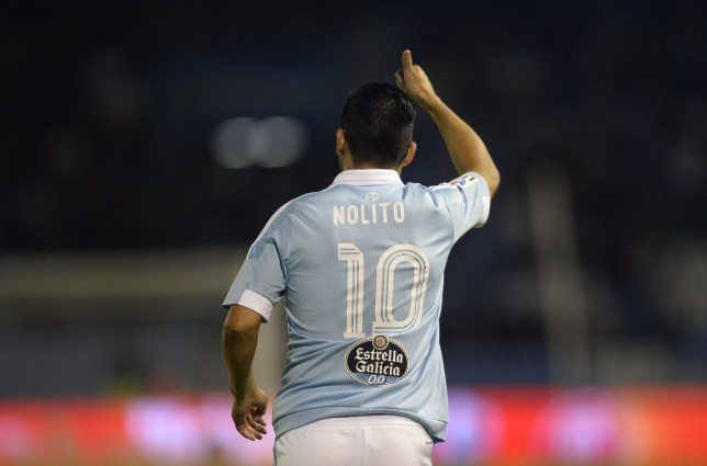 Celta Vigo's forward Nolito points skywards during the Spanish league football match Celta Vigo vs Getafe CF at the Balaidos stadium in Vigo on October 2, 2015. AFP PHOTO / MIGUEL RIOPA (Photo credit should read MIGUEL RIOPA/AFP/Getty Images)
