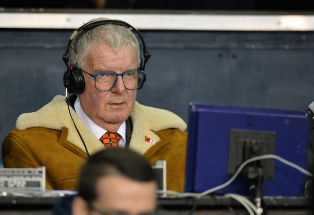BBC commenatator John Motson watches the English Premier League football match between Tottenham Hotspur and Aston Villa at White Hart Lane in north London on November 2, 2015. AFP PHOTO / GLYN KIRK RESTRICTED TO EDITORIAL USE. NO USE WITH UNAUTHORIZED AUDIO, VIDEO, DATA, FIXTURE LISTS, CLUB/LEAGUE LOGOS OR 'LIVE' SERVICES. ONLINE IN-MATCH USE LIMITED TO 75 IMAGES, NO VIDEO EMULATION. NO USE IN BETTING, GAMES OR SINGLE CLUB/LEAGUE/PLAYER PUBLICATIONS. (Photo credit should read GLYN KIRK/AFP/Getty Images)