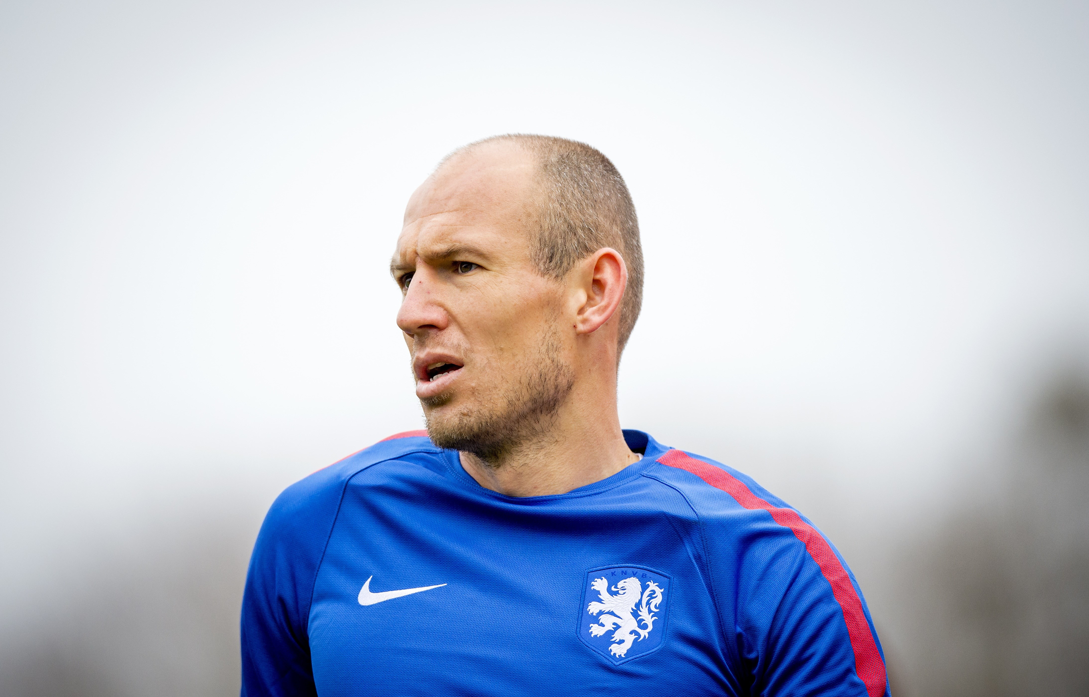 Dutch national football player Arjen Robben attends a training session in Katwijk on November 10, 2015. The Netherlands will face Wales on November 13 and Germany on November 17 in friendly matches. AFP PHOTO / ANP / ROBIN VAN LONKHUIJSEN netherlands out (Photo credit should read ROBIN VAN LONKHUIJSEN/AFP/Getty Images)