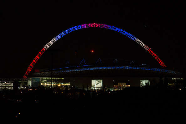 LONDON, ENGLAND - NOVEMBER 13: The colours of the Union flag are seen on the arch above Wembley Stadium following a speech by Indian Prime Minister Narendra Modi during the second day of an official three day visit on November 13, 2015 in London, England. In his first trip to Britain as Prime Minister Modi's visit will aim to develop economic ties between the two countries. In a busy schedule he will speak at Wembley Stadium, lunch with the Queen at Buckingham Palace, address Parliament and stay overnight at Chequers. (Photo by Rob Stothard/Getty Images)