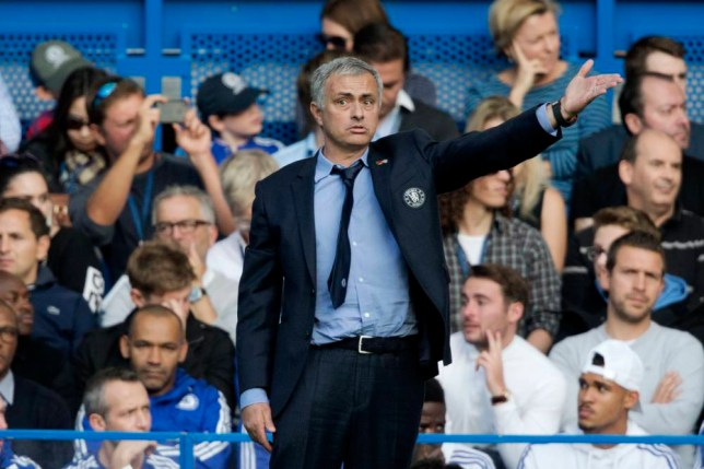 Chelsea's head coach Jose Mourinho reacts during the English Premier League soccer match between Chelsea and Liverpool at Stamford Bridge stadium in London, Saturday, Oct. 31, 2015. Chelsea lost the match 3-1. (AP Photo/Matt Dunham)