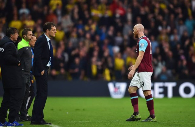 WATFORD, ENGLAND - OCTOBER 31: James Collins of West Ham United leaves the pitch after being shown a red card during the Barclays Premier League match between Watford and West Ham United at Vicarage Road on October 31, 2015 in Watford, England. (Photo by Justin Setterfield/Getty Images)
