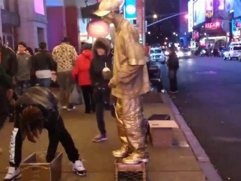 This is what happens if you try and rob a human statue
