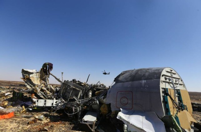 Mandatory Credit: Photo by Xinhua/REX Shutterstock (5333854c) An Egyptian military helicopter flies over debris of a Russian passenger airplane which crashed at the Hassana area in Arish city, north Egypt Russian aircraft crashes in Sinai Desert, Egypt - 01 Nov 2015 Egyptian and international investigators on Sunday have begun probing the reasons of the Russian plane that crashed in Egypt's Sinai peninsula on Saturday which killed all 224 on board.