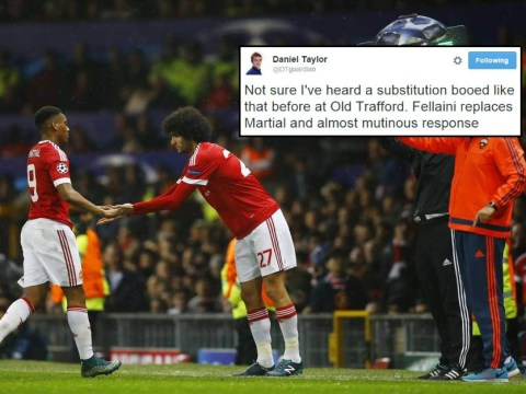 Manchester United fans turn on Louis van Gaal for subbing Anthony Martial for Marouane Fellaini during CSKA Moscow match