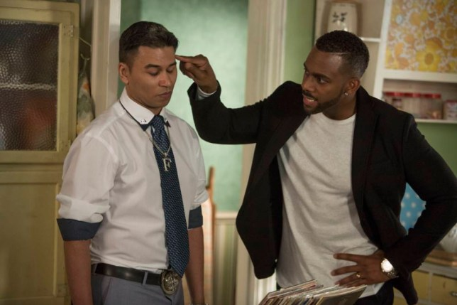 WARNING: Embargoed for publication until 00:00:01 on 10/11/2015 - Programme Name: EastEnders - TX: 19/11/2015 - Episode: 5175 (No. n/a) - Picture Shows: A furious Vincent tells Fatboy he is not impressed with how he has treated Donna. 'Fatboy' Arthur Chubb (RICKY NORWOOD), Vincent (RICHARD BLACKWOOD) - (C) BBC - Photographer: Gary Moyes