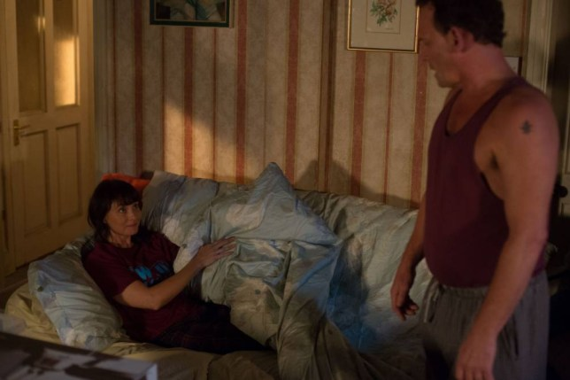 WARNING: Embargoed for publication until 00:00:01 on 10/11/2015 - Programme Name: EastEnders - TX: 16/11/2015 - Episode: 5173 (No. n/a) - Picture Shows: Billy is taken aback when Honey asks him to join her. Honey (EMMA BARTON), Billy Mitchell (PERRY FENWICK) - (C) BBC - Photographer: Jack Barnes