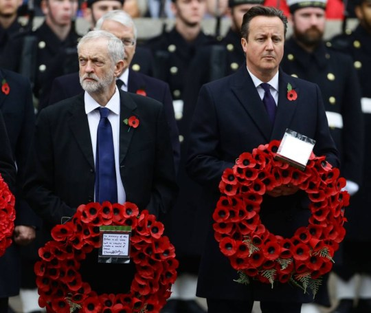 Labour party leader Jeremy Corbyn (left) and Prime Minister David Cameron wait to lay wreaths during the annual Remembrance Sunday service at the Cenotaph memorial in Whitehall, central London, held in tribute for members of the armed forces who have died in major conflicts. PRESS ASSOCIATION Photo. Picture date: Sunday November 8, 2015. See PA story MEMORIAL Remembrance. Photo credit should read: Gareth Fuller/PA Wire