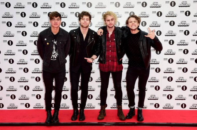 (left to right) Calum Hood, Luke Hemmings, Michael Clifford and Ashton Irwin of 5 Seconds of Summer arriving for the BBC Radio 1's Teen Awards, Wembley Arena, London. PRESS ASSOCIATION Photo. Picture date: Sunday November 8, 2015. Photo credit should read: Ian West/PA Wire