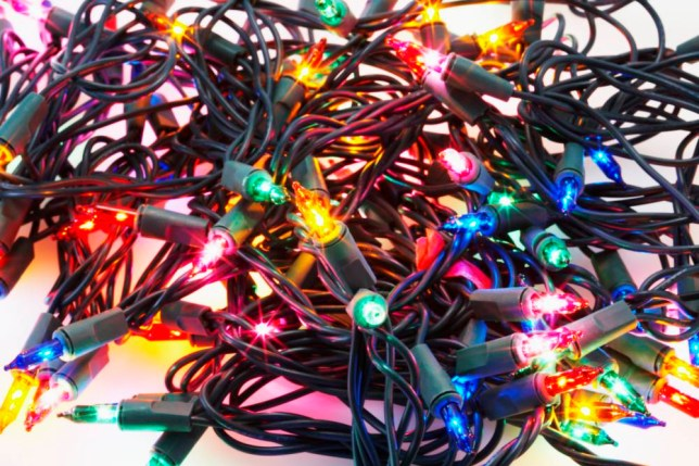 Christmas fairy lights in a tangle, close-up