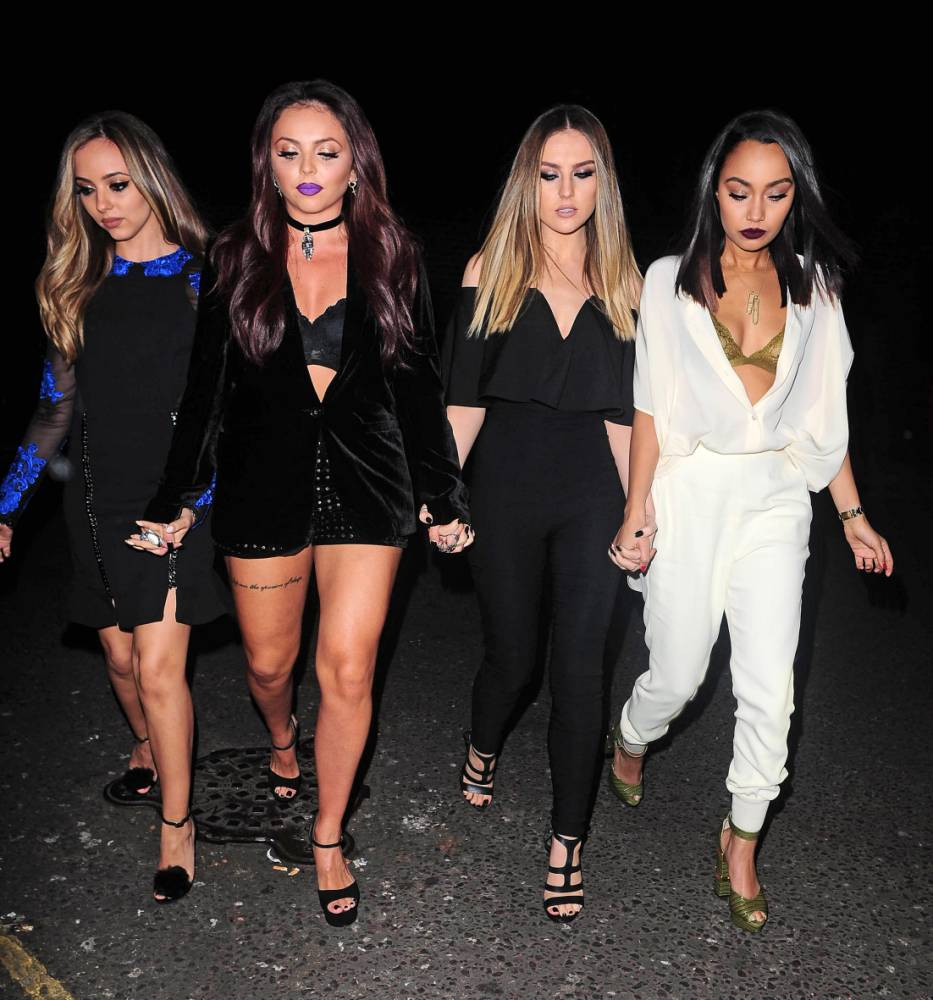 11.NOVEMBER.2015 - LONDON - UK LITTLE MIX PICTURED ARRIVING AT THEIR ALBUM LAUNCH IN CENTRAL LONDON. JADE THIRLWALL, PERRIE EDWARDS, LEIGH-ANNE PINNOCK, AND JESY NELSON OF GIRL BAND LITTLE MIX ATTEND ALBUM LAUNCH PARTY AT BODO'S SCHLOSS NIGHTCLUB. BYLINE MUST READ : XPOSUREPHOTOS.COM ***UK CLIENTS - PICTURES CONTAINING CHILDREN PLEASE PIXELATE FACE PRIOR TO PUBLICATION *** **UK CLIENTS MUST CALL PRIOR TO TV OR ONLINE USAGE PLEASE TELEPHONE 44 208 344 2007 **